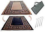 Redwood Mats Patio Mat 9' X 12' Greek Key - Brown/ Black Rv Mat Reversible Outdoor Rug Camping Indoor (With Ground Stakes & Carry Bag)