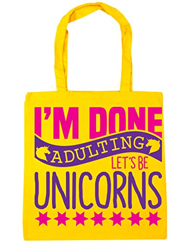 Be Done Shopping Bag Beach Adulting Let's 10 Unicorns I'm Yellow x38cm Gym Tote litres 42cm HippoWarehouse 0xwqC45I