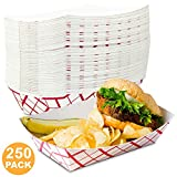 5 lb Heavy Duty Disposable Red Check Paper Food Trays Grease Resistant Fast Food Paperboard Boat Basket for Parties Fairs Picnics Carnivals, Holds Tacos Nachos Fries Hot Corn Dogs [250 Pack]