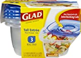 GladWare Tall Entrée Food Storage Containers, 42 Ounces, 3 Count (Pack of 6)