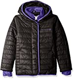 Free Country Big Girls' Quilted Cire Bib Jacket, Black, S(7/8)