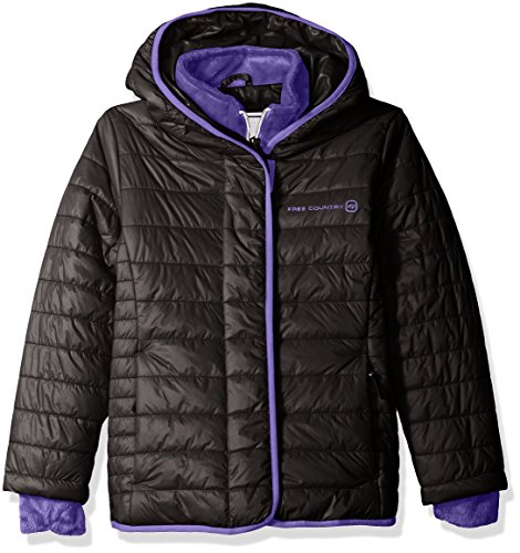 Free Country Big Girls' Quilted Cire Bib Jacket, Black, S(7/8) by Free Country