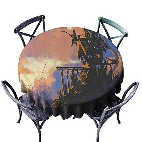 (HCCJLCKS Decorative Textured Fabric Tablecloth Fantasy Fisherman Sitting on The Castle Standing Over The Rocky Cliffs Haunted Paint Style Picnic D71 Multicolor)