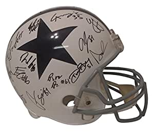 2017 Dallas Cowboys Team Autographed Hand Signed Riddell Throwback Full Size Football Helmet with 32 Signatures Total and Proof Photos of Signing, COA, Dak Prescott, Jason Garrett, Ryan Switzer