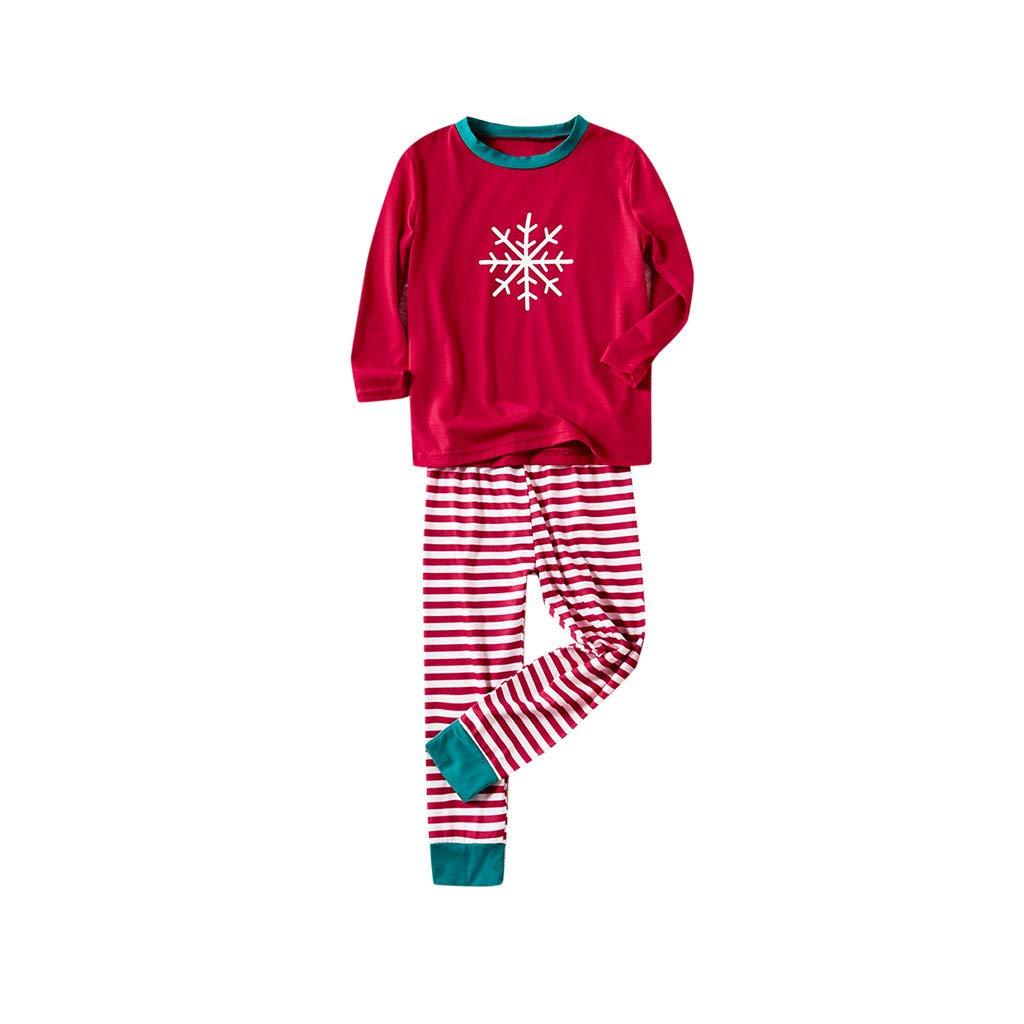Rayure Pantalon Sleepwear V/êtement Pyjama Sleepsuit pour M/ère P/ère Gar/çon Fille Darringls Ensemble de Nuit Noel Famille 2 Pcs Set /à Manches Longues Flocon de Neige Top