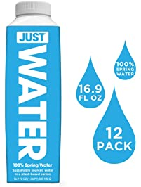 JUST Water, 100% Premium Spring Water in a Paper-Based Recyclable Bottle, Naturally High 8.0 pH and BPA Free, 16.9 Oz