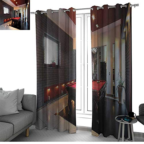 Modern Sound Asleep Room Curtains House with Snooker Table Hobby Pool Game Flat Furniture Leisure Time Print Kitchen Curtain Red Brown White W108 x L84 Inch