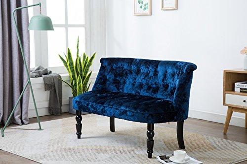 Kings Brand Furniture - Diana Velvet Tufted Upholstered Settee Bench, Blue (Velvet Blue Bench)