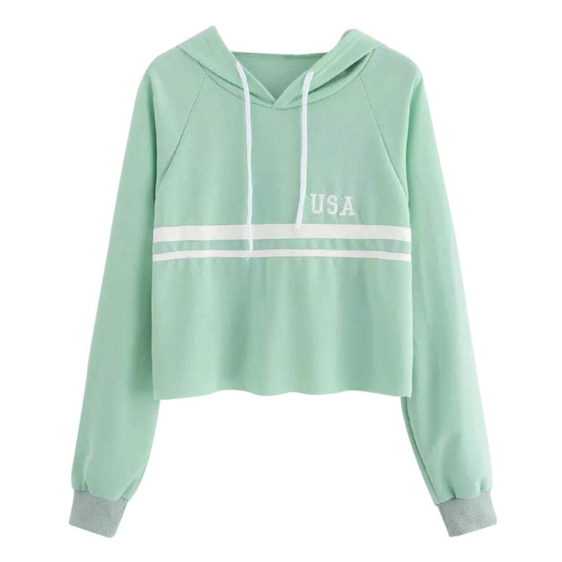 Bafaretk Womens Striped Patchwork Crop Top USA Letter Print Sweatshirt Long Sleeve Hooded (XL, Green) by Bafaretk