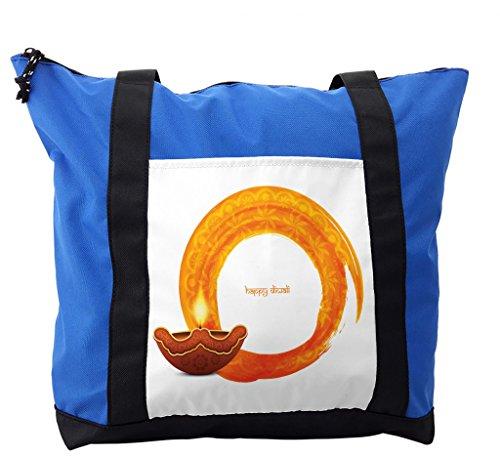 Lunarable Diwali Shoulder Bag, Wavy Frame in Warm Colors, Durable with Zipper by Lunarable