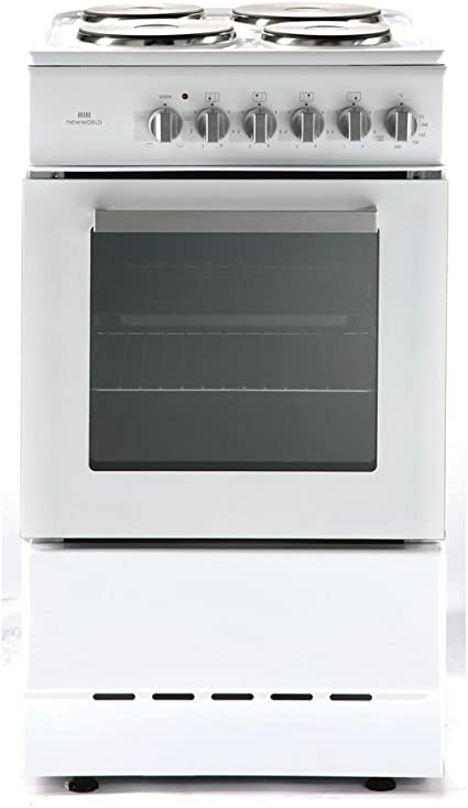 New World ES50S - Cocina (Cocina independiente, Blanco, Giratorio, Hornillo eléctrico/Placa eléctrica, Eléctrico, 500 mm)