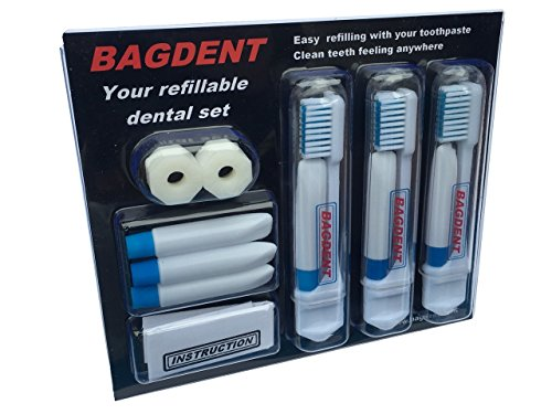 11 Pcs / set - Toothbrush and toothpaste in your pocket - refillable tubes by JaGr (Refillable Travel Toothbrush)