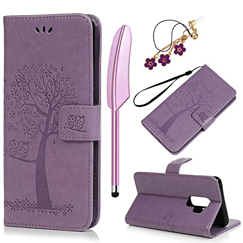 Galaxy S9 Plus Case, Galaxy S9+ Case, Premium PU Leather Wallet Purse Owl Tree Embossed Pattern TPU Inner Wrist Strap Credit Card Holders Flip Folio Stand Cover for Samsung Galaxy S9 Plus, Purple