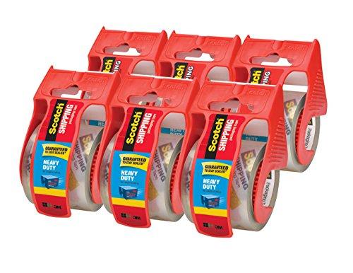 Cinta de embalaje de envío de alta resistencia Scotch, 6 rollos con dispensador, transparente, 1,88 pulgadas x 800 pulgadas, núcleo de 1,5 pulgadas, ideal para embalaje, envío y traslado (142-6)