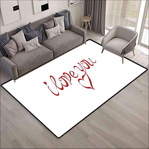 Rugs I Love You,Swirling Letter Fonts Valentines Heart Shaped Dots Calligraphy Illustration,Red White Carpet Pad 4'x6'