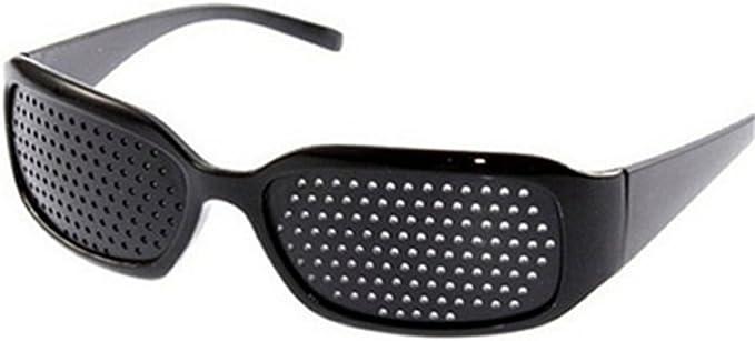 DAUCO Lunettes sténopéïques, lunettes à grille, lunettes de repos à sténopé, lunettes pour améliorer sa vue, lunettes à trous(noir)