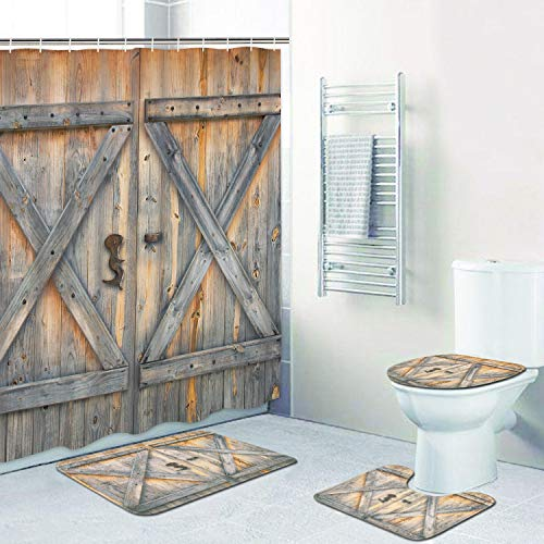 4 Pcs Rustic Barn Door Shower Curtain Set with Non-Slip Rug, Toilet Lid Cover, Bath Mat and 12 Hooks, Vintage Wooden Gate Waterproof Shower Curtain Set for Bathroom (Bathroom Curtain Rug And Sets)