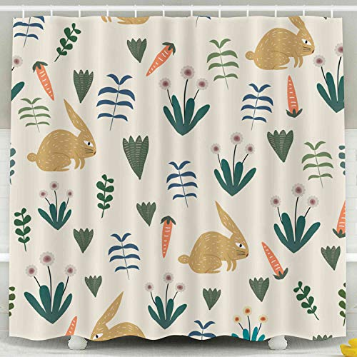 KIOAO Farmhouse Shower Curtain Liner Fabric,Baby Fashion Pattern Rabbit Carrot Flower Childish Drawing Cute Character Watercolor Pastel Colorful 78X72Inch Waterproof Extra Long Shower Curtains