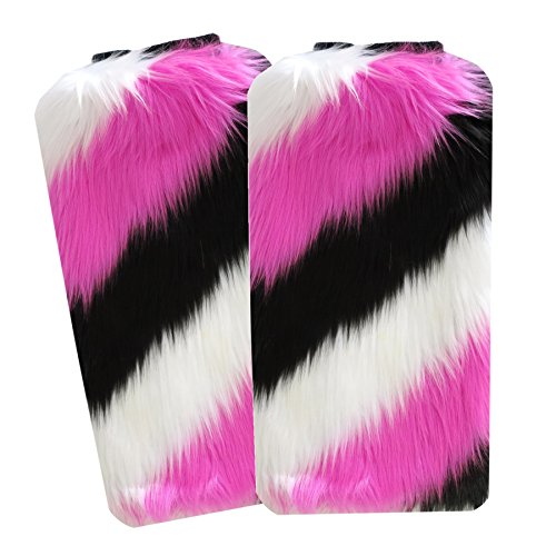 [Faux Fur furry fluffy super fuzzy for dance or boots socks leg warmer women rave and EDC costume by Secret Life (Pink / White /] (Furry Rave Boots)