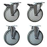 "Service Caster - 6"" x 1.25'' Gray Polyurethane wheels Caster Non-Marking Set of 4-2 Swivel Casters w/Brakes/2 Rigid"