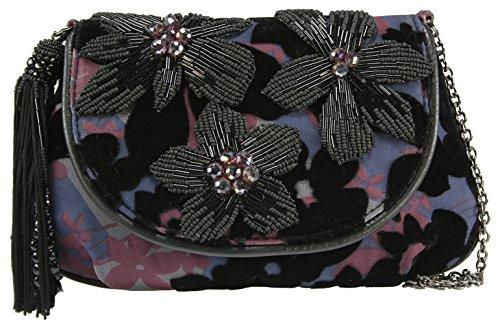 Mary Frances 3D Beaded Sequin Crystal Jeweled Flower Trim Burnout Purple Velvet Mini Handbag Shoulder Bag