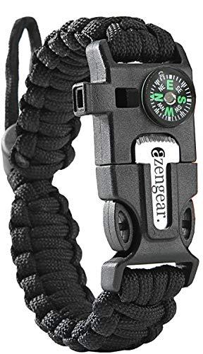 aZengear Bracelet de Paracorde et Survie pour Homme Femme - Militaire Kit avec Allume-feu - Boussole - Sifflet… 1