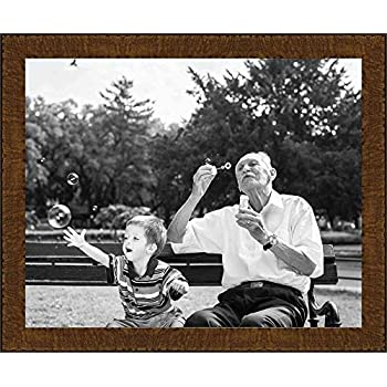 Poster Palooza 14x22 Traditional Natural Complete Wood Picture Frame with UV Acrylic, Foam Board Backing, Hardware