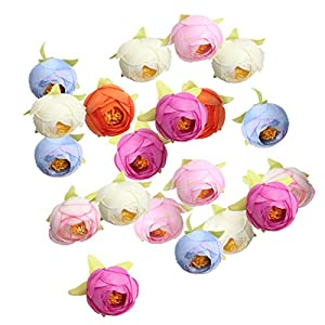 MagiDeal 20pcs Multicolor Artificial Silk Camellia Flower Heads Wedding Craft DIY 81