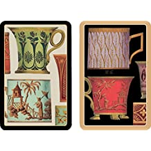 Entertaining with Caspari Double Deck of Bridge Playing Cards, Jumbo Type, Salon De The'
