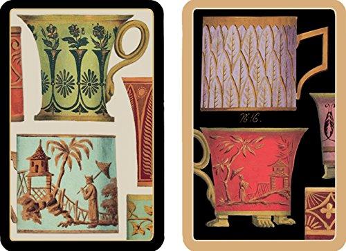 Entertaining with Caspari Double Deck of Bridge Playing Cards, Jumbo Type, Salon De The'