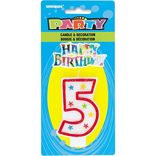 Glitter Number 5 Birthday Candle Happy Cake Topper
