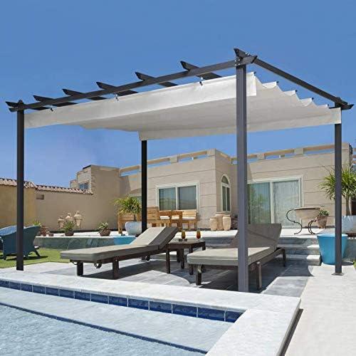 IDMarket - Pérgola de techo retráctil de 4 pies y 3 x 4 m en color beis: Amazon.es: Jardín
