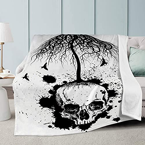 MYSTCOVER Black Skull Tree Throw Blanket Super Soft Lightweight Luxurious Cozy Warm Fluffy Plush for Bed Couch Living Room 40