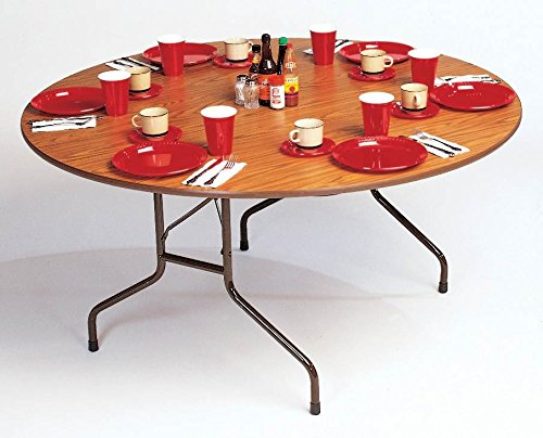 0.75 in. High Pressure Round Folding Table (48 in./Med Oak)