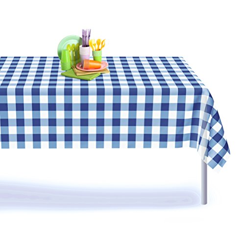 (Blue Gingham Checkered 6 Pack Premium Disposable Plastic Picnic Tablecloth 54 Inch. x 108 Inch. Rectangle Table Cover By Grandipity)