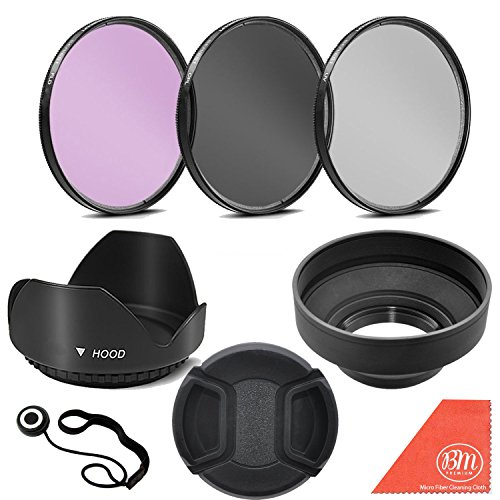 72mm 3 Piece Filter Kit (UV-CPL-FLD) + 72mm Tulip Lens Hood + 72mm Soft Rubber Hood + 72mm Lens Cap + for Select Canon, Nikon, Sony, Olympus, Panasonic, Fuji, Sigma SLR Lenses, Cameras and Camcorders