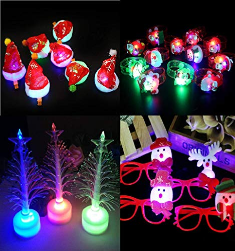 Glass Light Childrens Pendant (Astra Gourmet LED Glow Party Favors for Kids - 21 Pcs Light Up Glow in The Dark Party Supplies, 6 LED Santa Hat Hair Clips 6 LED Bracelet Wristband 6 LED Glasses 3 Glow Trees)