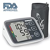 Warmlife Automatic Digital Upper Arm Blood Pressure Monitor with Cuff, FDA Approved (White with Black face)