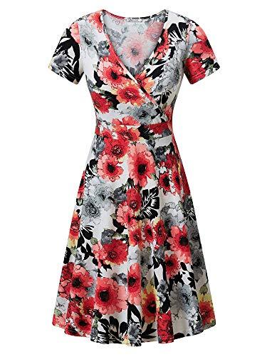 MSBASIC Dinner Dress Boho Summer Dresses for Women Orange Flowers M ()
