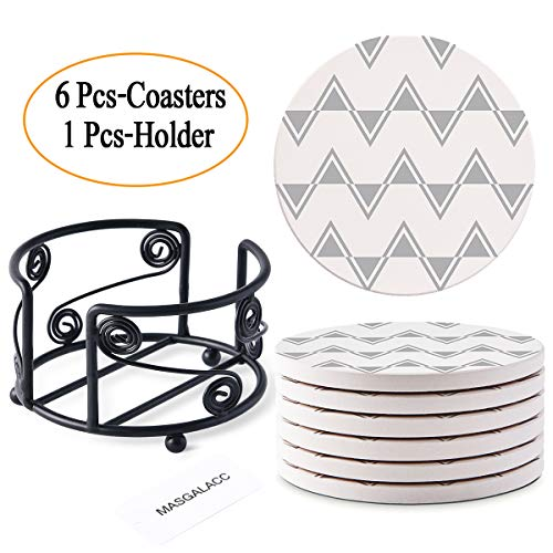 """Absorbent Stone Coasters for Drinks with Metal Holder-set of 6-4"""" x 4"""" -1/4"""" Thick,Absorbent,Heat-Resistant - Round Edges Best for Drinks in Office Home or Cottage"""