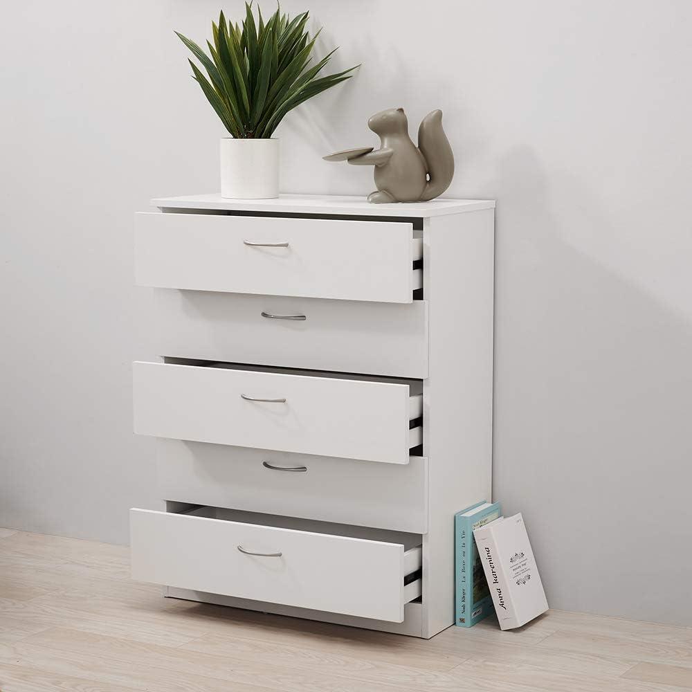 elevenfurniture Chest of drawers draws Hallway storage Cabinet Sideboard Cupboard Chest 5 Drawer (Black) White