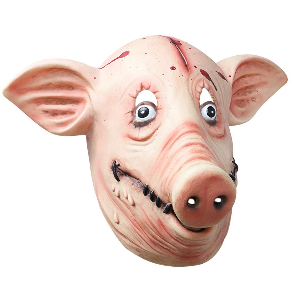 Monstleo Deluxe Novelty Halloween Costume Party Latex Animal Head Mask Pig Head