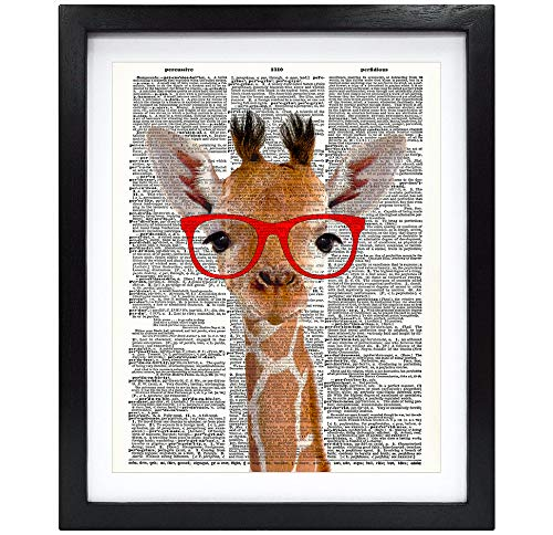 Susie Arts 8X10 Unframed Giraffe with red Glasses Friends Gift Living Room Kids Room Funny Art Upcycled Vintage Dictionary Art Print Book Art Print Home Decor Wall Art V218