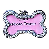 LXLP Pet ID Tags,Personalized Crystal DIY Mini Photo Frame, Rhinestone Address Decorated for Dog Cats Anti Lost