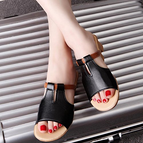 Transer® Ladies Cut Out Sandals- Women Flat Sandals Comfortable Slides Slippers Shoes Casual Black 5eI4su