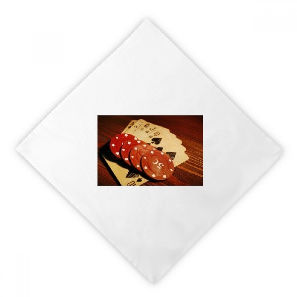 Red Chip Gambling Photo Dinner Napkins Lunch White Reusable Cloth 2pcs