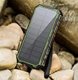 XZB Solar Charger, 50000mAh Solar Power Bank Dual USB Backup Battery Pack Charger, Outdoor Portable Solar External Battery Charger With Led Flashlight For Hiking, Camping, More (Color : A)