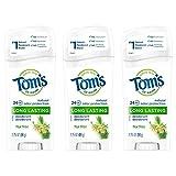 Tom's of Maine Desodorante natural de larga duración, paquete múltiple, desodorante sin aluminio, desodorante natural, árbol de té, 2.25 onzas, paquete de 3