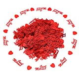 Just Married Wedding Confetti Table Decor with Heart Scatter Sprinkle (RED)