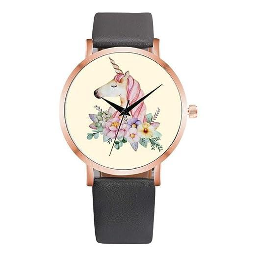 Relojes para mujer, bonito reloj de unicornio para mujer, correa de piel, analógico